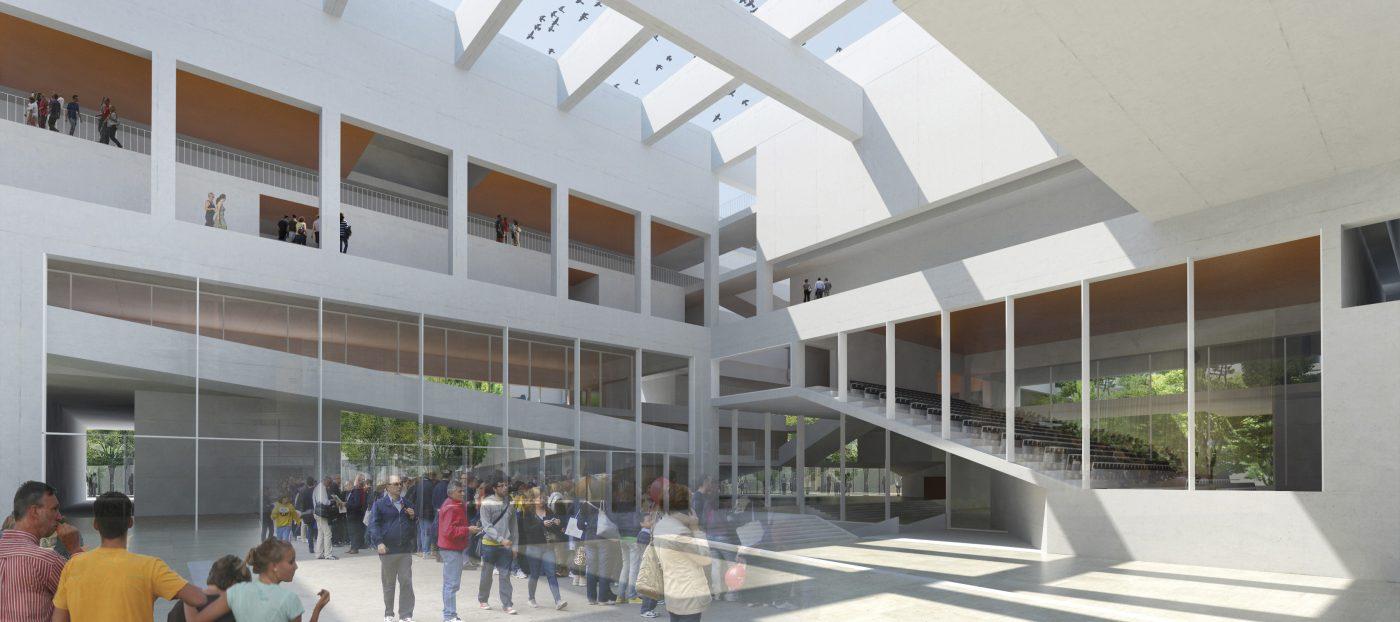 intérieur entree - campus Paris-Saclay - Télécom ParisTech